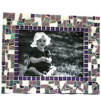 Mosaic Picture Frame, Decorative Photo Frame, Purple