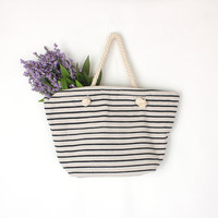 Classic Canvas Tote Bag, Navy Strips in Beige