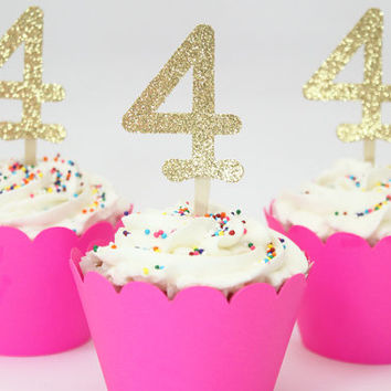 Gold Glitter Number Cupcake Toppers Girls Birthday Party Sparkle Glam Cupcake Toppers Age Gold Glitter Party Supplies Tea Party / Set of 12