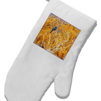 Blue Bird in Yellow White Printed Fabric Oven Mitt
