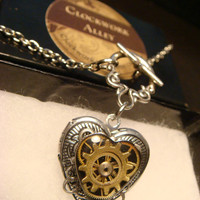 Steampunk Clockwork Gears Heart LOCKET Necklace - Great VALENTINES DAY Gift (1744)