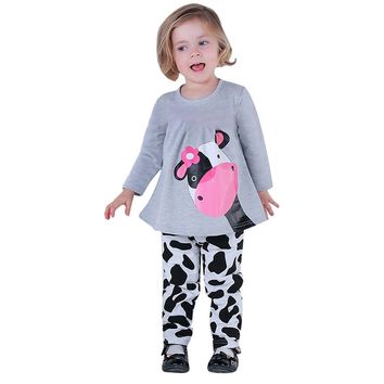 Princess Baby Girls Summer Clothing Set Tops+Pants 2 Pcs Cute Cotton Cow Pattern Clothes Casual Outfits