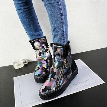 Shoes Woman Boots Warm Plush Winter Boots Fur Ankle Boots Women booties Waterproof Women's Shoes