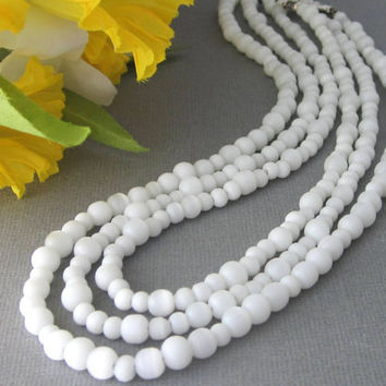 "White Three Strand Cat's Eye Necklace Magnetic Clasp 16"", 17"", 18"""