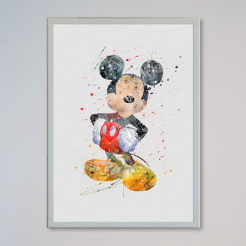Mickey Mouse disney FRAMED Art Print Watercolor Print poster