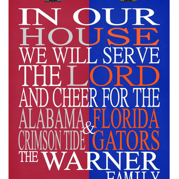 A House Divided - Alabama Crimson Tide & Florida Gators personalized family poster Christian gift sports art -multiple sizes