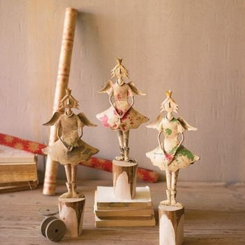 Set of 3 Painted Recycled Metal Angels On Wooden Bases