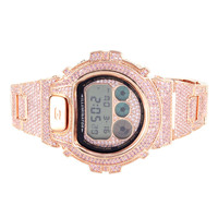 Pink Simulated Lab Diamond G-Shock DW6900 Rose Gold Finish Watch