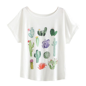 O Neck Graphic Desert Cactus Print T Shirt