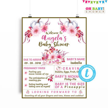 Baby Shower Welcome Sign Pumpkin, Pumpkin Baby Shower Template, Baby Shower Welcome Poster, Editable, Baby Girl Shower, Digital 16x20 PPMK