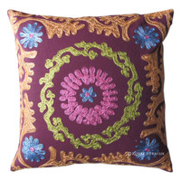 16x16 Blue Decorative Suzani Accent Throw Pillow Sham With Embroidery