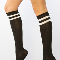 Intimates Boutique Socks Striped Top Knee High in Black