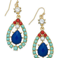 INC International Concepts Earrings, 14k Gold-Plated Multi-Color Stone Teardrop Earrings - All Fashion Jewelry - Jewelry & Watches - Macy's
