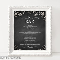 Bar sign, Bar Menu Sign, Printable bar sign, Wedding Bar Sign, Chalkboard Signs, Drinks sign, Templates Download, Script Sign, Custom signs