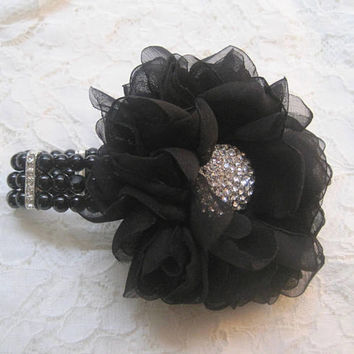 Corsage Bracelet Black Chiffon Flower with Black Pearl with Rhinestones Wrist Corsage Choose Style of Bracelet Prom Homecoming Custom Order