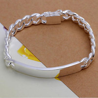 Silver Plated Gift Jewelry Bracelet 10cm Trendy Men Male Bangle Bracelet SM6