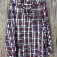 Nice Mens LL Bean Flannel Shirt XXL Tall 2xT size Burgundy Plaid Soft Cotton Casual