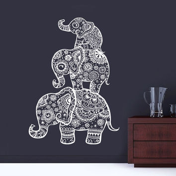 Three Elephant  Wall Decals India Mural