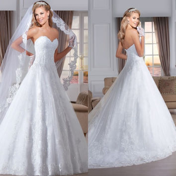 Beautiful New Model Strapless Low Back Lace Appliques Wedding Dress 2015