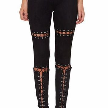 Suede Lace Up Cut Out Skinny Pants