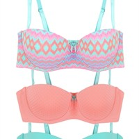 Set of Three Bras with Chevron and Dot Prints