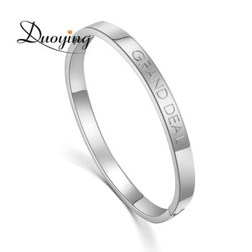 DUOYING Stainless Steel Bracelets Lover Custom Name Personalized Bangles Simple Friendship Circle Coordinate Bracelet for Etsy