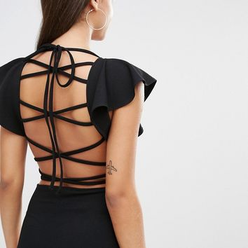 Oh My Love Frill Bodysuit With Strappy Back at asos.com