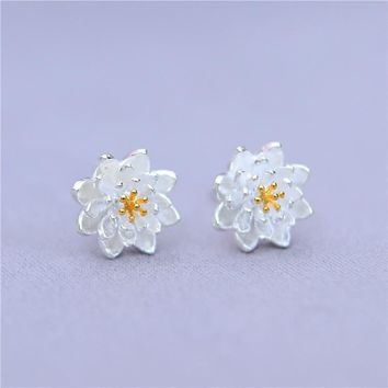 Floral Silver Korean Stylish Earrings [11326613908]
