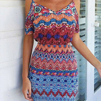 Ethnic-Print Cold Shoulder Dress