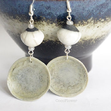 Silver White Ceramic Bead earring dangle Grey polymer clay pendant artisan jewelry elegant chic