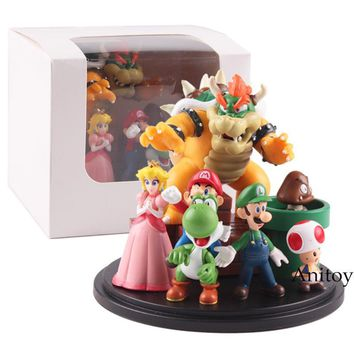 Super Mario party nes switch  Bros Bowser Princess Peach Yoshi Luigi Toad Goomba PVC Action Figure Toy Model 3~10cm AT_80_8