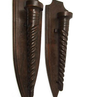 Vintage Medieval Wooden Candle Sconces - Home Decor Pair of Hand Carved Candle Holders - Rustic Castle Decorative Triangle Geometric