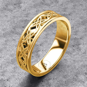 Infinity Celtic Knot Wedding Band 14k Yellow Gold Unique Mens Ring Eternity Solid