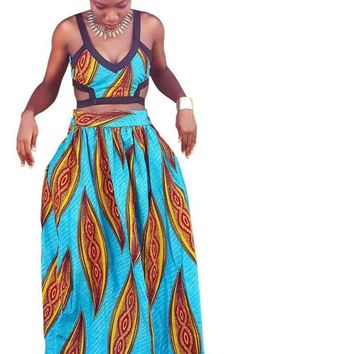 Ankara Print Maxi Skirt and Tank Top Set