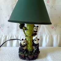 Panda Bear & Bamboo figurine TABLE LAMP and Green Shade desk boudoir Vintage light Great Art Brand 1993 Asian home decor bedside night light