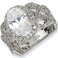 Sterling Silver Fancy Round Cubic Zirconia by Cheryl M