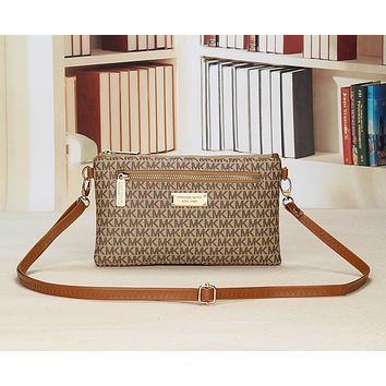 MK Michael Kors Women Mini Message Bag Leather Satchel Crossbody Shoulder Bag