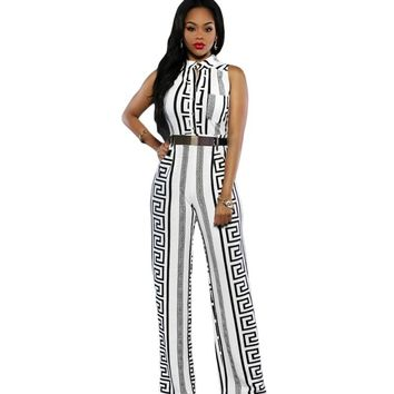 2017 Fashion print jumpsuit wide leg office work clothes plus size overalls for women