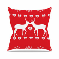 "Suzanne Carter ""Christmas Deer 2"" Holiday Pattern Throw Pillow"