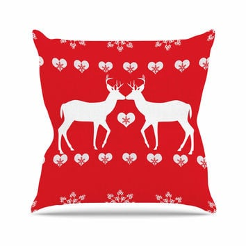 "Suzanne Carter ""Christmas Deer 2"" Holiday Pattern Outdoor Throw Pillow"