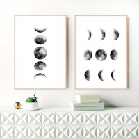 Black and White Moon Canvas Painting Nordic Wall Art Picture , Moon Phases Canvas Print and Poster Scandinavian Art Wall Decor