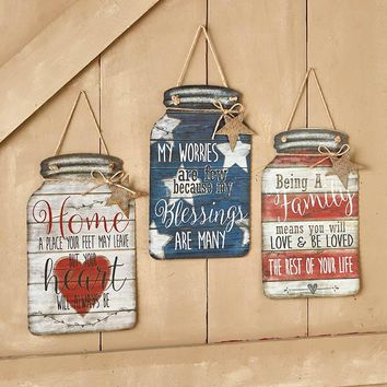 Mason Jar Wall Sign Corrugated Metal w/Sentiment Home Blessings or Family Decor