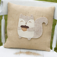 Quirky Decorative Felt Squirrel Burlap Pillow by lollipoppillows