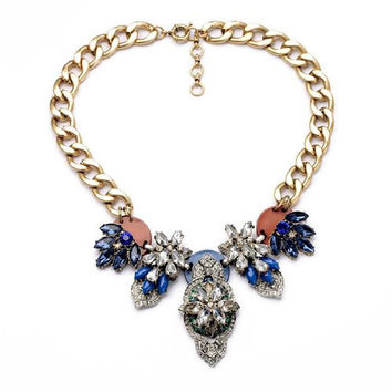 ( 2-Days FREE SHIPPING) Blue Rhinestone Crystal Statement Fashion Necklace