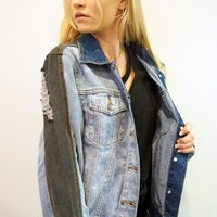 """Mother Trucker"" Colorblock Denim Jacket"
