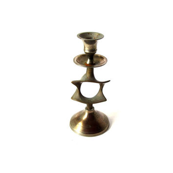 Vintage candle holder. Home decor judaica. Candlestick. Brass candle holder. Shabbat candleststick with star of david. One available.