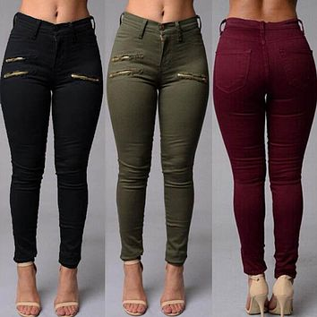 Autumn Women Jeans Pencil Stretch Casual Zipper Denim Skinny Jeans Pants High Waist Jeans Trousers