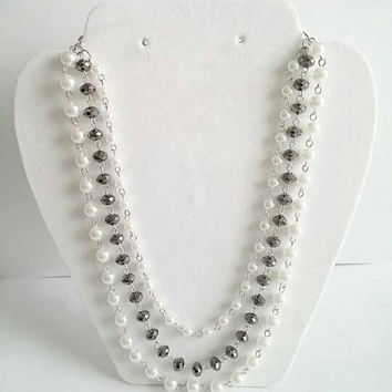 White Pearls Anthropologie Necklace,Bib Necklace Statement,Silver Layered Necklace,Bridesmaid Jewelry Set