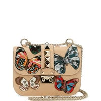 Valentino Lock Small Butterfly Shoulder Bag, Beige
