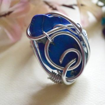 Natural Blue Jasper gemstone size 8 handmade silver wire ring handmade